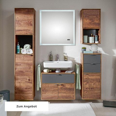 Badezimmerserien Holz Nuss Weiß Spiegel