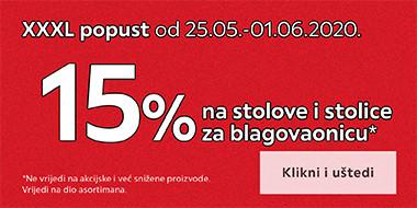 15% na stolove i stolice i blagovaonicu