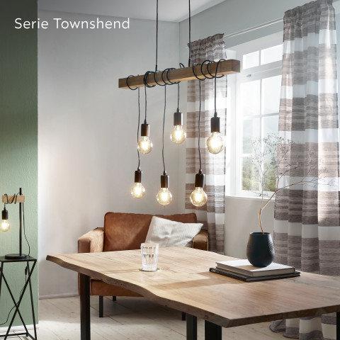 Leuchten Serie Townshend Schnurpendel Schwarz Holz