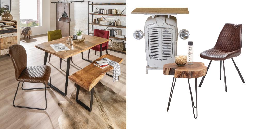 Möbel im Retro-Design Vollholz Ledersessel