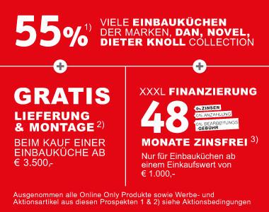 55% auf viele Einbaukuechen der Marken, DanKüchen, Novel, Dieter Knoll Collection + Gratis Lieferung und Montage +48 Monate Zinsfrei