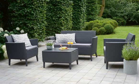 Outdoormöbel Kunststoffgeflecht Braun Garten Terrasse Grün
