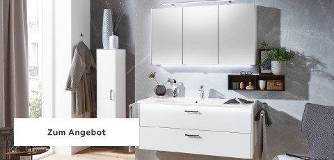 Badezimmerserien Weiß Spiegel Griffe Schwarz