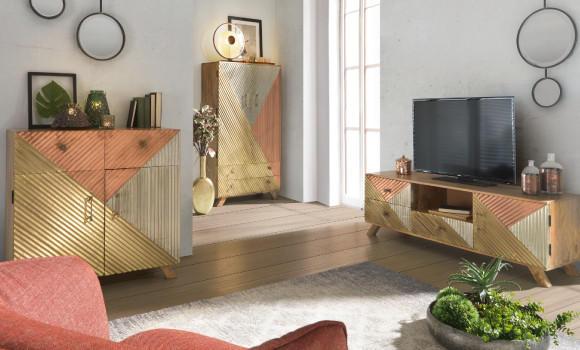 Wohntrend Kupfer Kommode Wohnzimmer