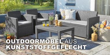 Outdoormöbel aus Kunststoffgeflecht
