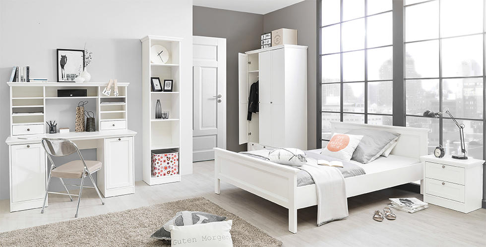 elegantan bijeli namještaj spavaća soba