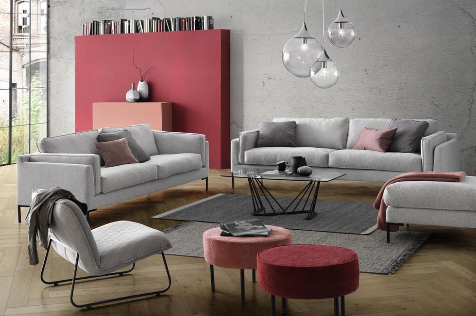 Grau - flamingofarbenes Wohnzimmer