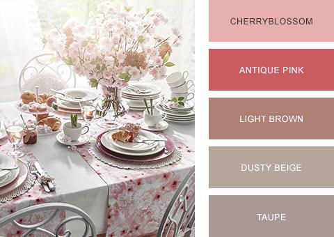 Esstisch romantisch rosa weiß