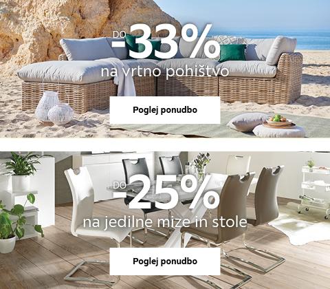 do -33% na vrtno pohištvo & do -25% na jedilne mize in stole