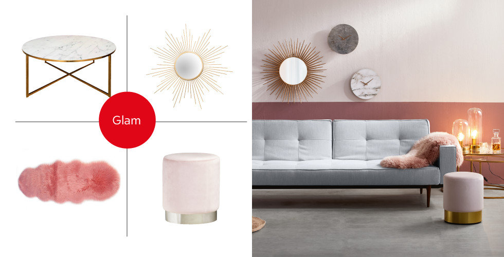 Shop the Style Glam Wohnzimmer Couch Grau Rot Weiß