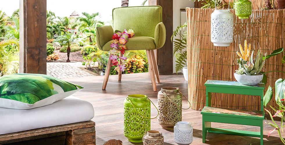 Dekoration im Dschungel-Stil grün