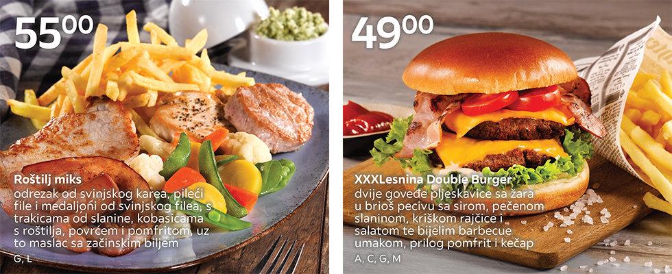 Roštilj miks i burger u XXXL restoranu