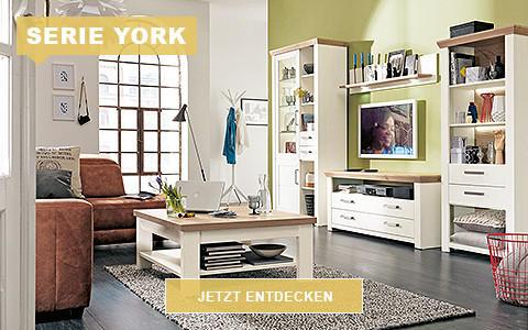 Wohnzimmer York Eiche weiß