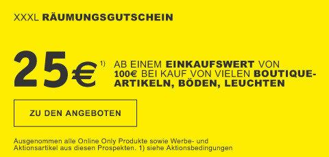Raeumungsgutschein 25€ ab einem Einkaufswert von 100€ bei Kauf von vielen Boutiqueartikeln, Boeden, Leuchten // BN528