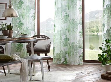 Moderna i osvježavajuće gotove zavjese sa zelenim listovima Lesnina XXXL
