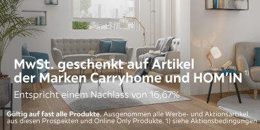 Mwst geschenkt  auf Carryhome  und HOM'IN