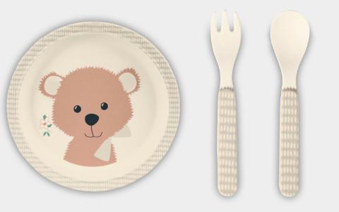 Kindergeschirr Bär Teller und Besteck