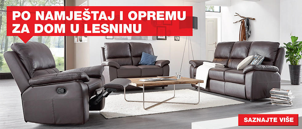 Udobna i kvalitetna kožna sjedeća garnitura i fotelja Lesnina XXXL