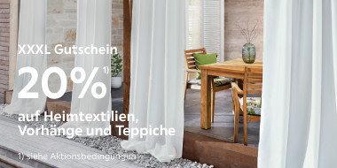20% auf Heimtextilien,Vorhänge und Teppiche