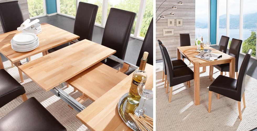 Jídelní stůl rozkládací dřevěné desky jádrový buk