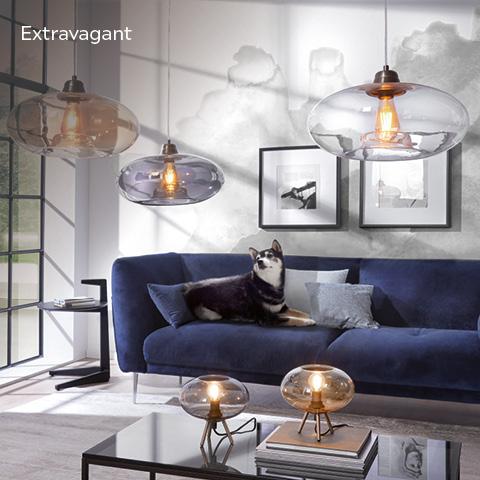 Stehleuchten & Hängelampen extravagant im Wohnzimmer mit blauen Samtsofa und Husky