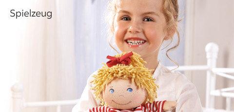 Haba Spielzeug Mädchen Puppe Rot Weiß