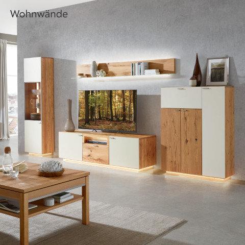 Voleo Wohnwände Grau Holz Weiß Wohnzimmer