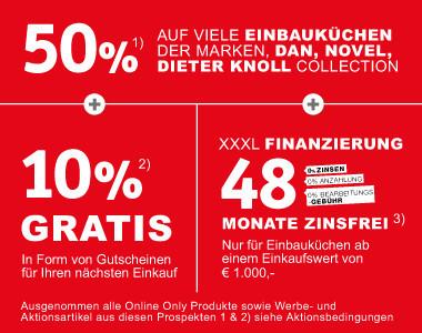 50% auf Dan, DieterKnoll und Novel Einbauküchen + 10% Gratis + 48 Monate Zinsfrei