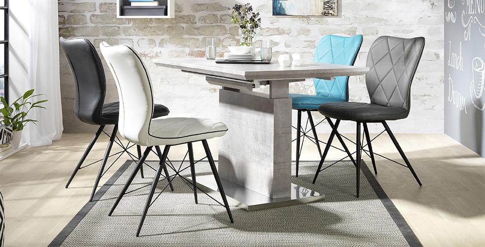 Blagovaonski stol boje kamena i bijela, siva, crna i tirkizna stolica
