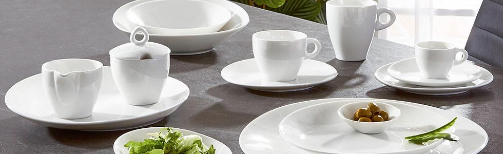 Porzellan Geschirr weiß minimalistisch