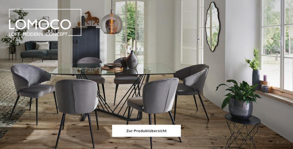 Lomoco Esszimmer Tisch Glas Sesseln Grau
