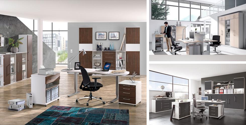 Materialvielfalt im Arbeitszimmer und Büro. Schreibtische mit Glasplatten oder aus massivem Holz. Chefsessel aus Leder bei XXXLutz.