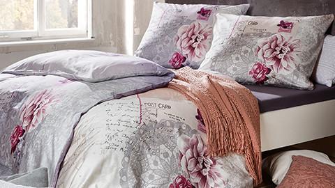 Baumwoll-Bettwäsche mit Blumenmuster