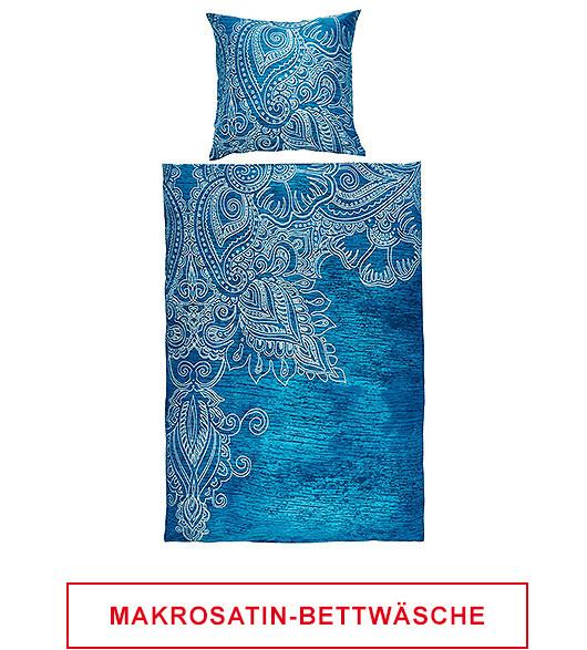 Freisteller Makosatin Bettwäsche in Blau