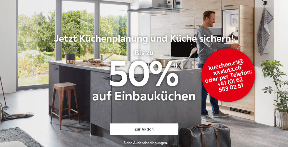 Bis zu 50% auf Einbauküchen Jetzt Küchenplanung und Küche sichern!