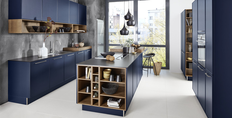 moderne Küche dunkelblau