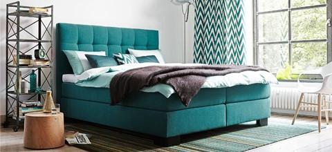 Kreativní, individuální, petrolejové, kontinentální postele v XXXLutz.