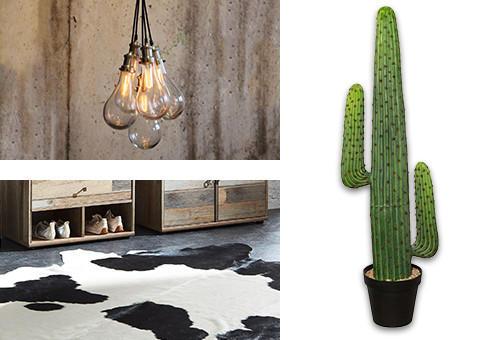Lampen und Pflanzen im rustikalen Design