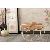 Drveno zlatni pomoćni stolić u obliku cvijeta