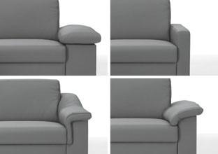 Různé boční díly k pohovkám, hranaté nebo oblé, v XXXLutz.