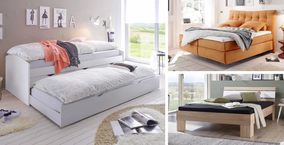 Bijeli dupli krevet, žuti Boxspring i drveni krevet