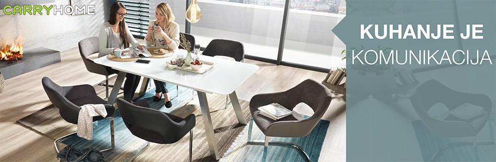 Moderan i elegantan blagovaonski stol bijele boje i stolice za blagovaonicu Lesnina XXXL