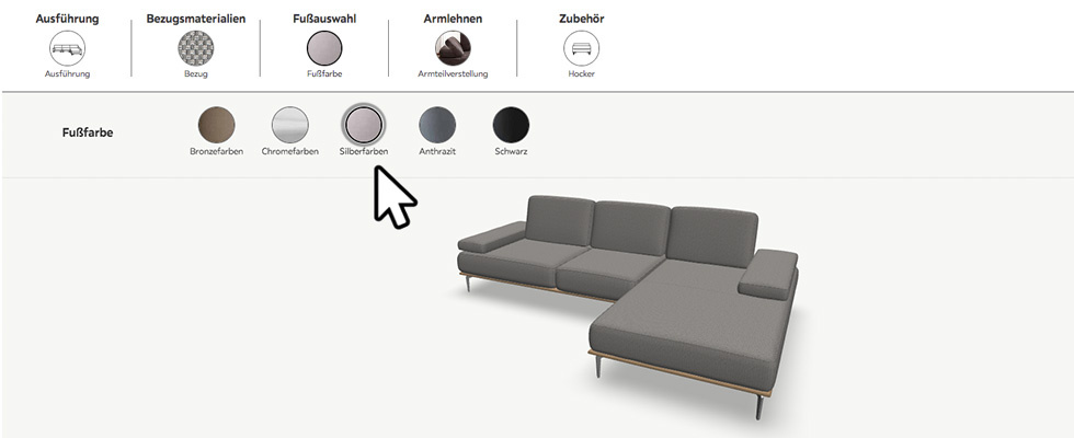 Fußfarbe des Sofas auswählen