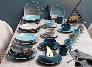 Moderan i zanimljiv servis tanjura plave boje Lesnina XXXL