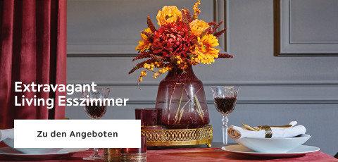 Extravagant Living Esszimmer Tisch Blumen Rot Gelb Grau
