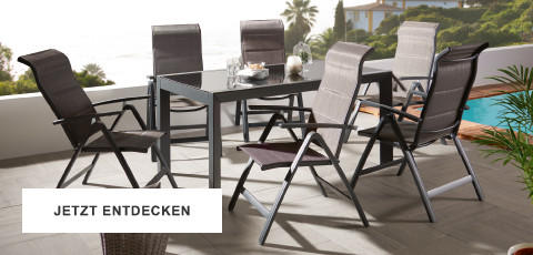 Gartentrends Gartenmöbel Schwarz Weiss Sitzgarnitur Tisch Sesseln