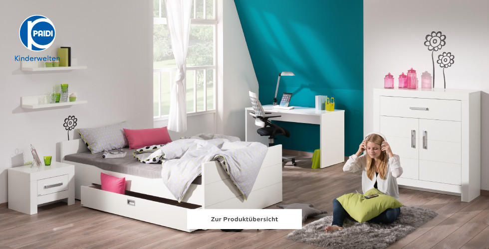 Paidi Kinderwelten Kinderzimmer Jugendzimmer Weiß Grau Blau
