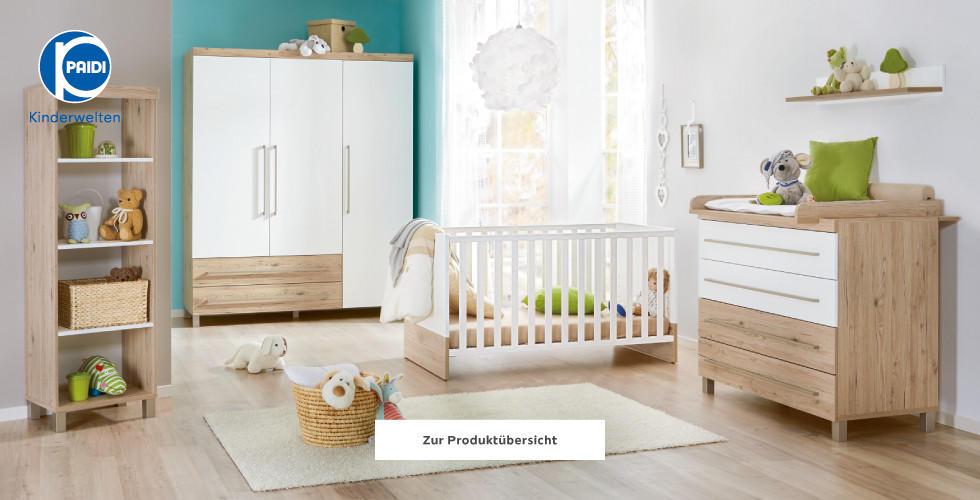 Paidi Kinderwelten Babyzimmer Weiß Braun Holz Türkis