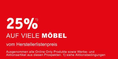 25% auf Möbel vom Herstellerlistenpreis