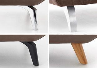 Nohy k pohovkám v různých tvarech a materiálech, v XXXLutz.